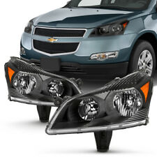 09-12 Chevy Traverse LS LT Pair BLACK Headlight Replacement Lamp Left+Right Side