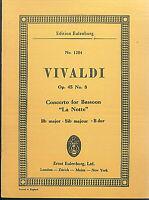 """Taschenpartitur ~ Vivaldi : Concerto for Bassoon """" La Notte """" B-Dur OP. 45 No. 8"""