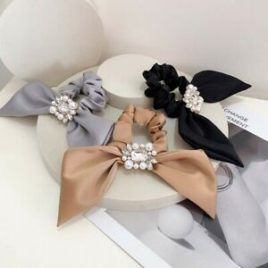Elegant Fabric Scarf Bow Hair Rope Ties Scrunchies Ribbon  Band Crystal Pearl