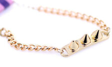 Punk biker style gold coloured spike chain bracelet