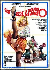 VAI COL LISCIO MANIFESTO CINEMA VESPA PIAGGIO RAOUL CASADEI 1976 MOVIE POSTER 2F