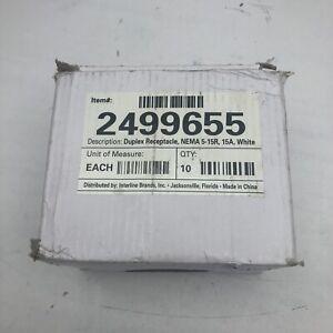 QTYS 10 UNBRANDED 2499655 DUPLEX RECEPTACLE NEMA 5-15R,15A,WHITE