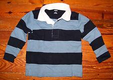 Boys GYMBOREE Blue & White Cotton Stripe Long Sleeve Polo Shirt Size 4