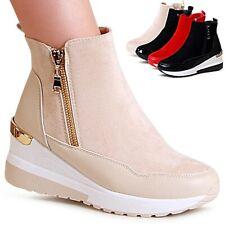 Damenschuhe Keilabsatz Stiefeletten Plateau Sneaker Halb Stiefel Ankle Boots