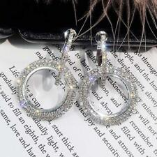 Platinum Filled Sterling Silver with Diamond Sparkly Crystal  Earrings