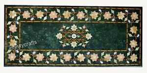18 x 36 Inches Marble Coffee Table Top Inlay Floral Pattern Patio Table for Lawn