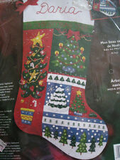 Christmas BUCILLA STOCKING FELT Applique KIT,O'CHRISTMAS TREE,Garbrandt,#84757
