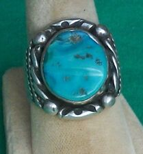 VTG HERBERT PINO HP STERLING SILVER RING NAVAJO INDIAN SLEEPING BEAUTY TURQUOISE