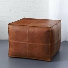 Set of 2 Moroccan Pouf Cube Pouf Ottoman Square Moroccan Pouf Natural Tan Brown