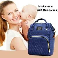 Dot Print Backpacks Mommy Maternity Bags Baby Care Diaper Bags (Dark Blue) NI5L