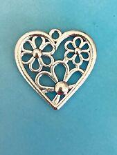 Tibetan Silver Flower Heart Pendant Charm Love Open Pattern Valentine
