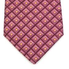 Ermenegildo Zegna Pink Orange Plaid Squares Luxury Elegant Necktie 100% Silk Tie