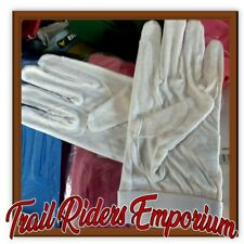 Horse riding gloves cotton track glove pimple grip white adult small