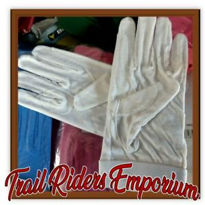 Horse riding gloves cotton track glove pimple grip white adult large