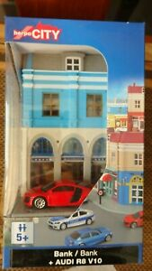 Herpa City 800037 Bank + Audi R8 V10 Colour Red 1:64