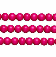 Wood Round Beads Dark Pink 8mm 16 Inch Strand