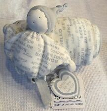 """Under the Nile Security Blanket Lovey Doll  Soft Gray and White 32"""" X 32"""" NWT"""