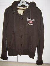 Hollister Brown Hoodie Jacket Button Down S Mens New $69.50 tags