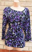 KLASS FEATHER PURPLE BLACK LACE RUCHED ONE SIDE LYCRA BLOUSE TOP TUNIC XL 16
