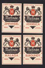Matinee California Wine Labels - Angelica, Malaga, Zinfandel, Burgundy -Original
