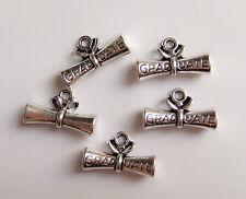 5pz charms ciondoli 'Graduate ' Laurea colore tibetano 21x13mm  bijoux