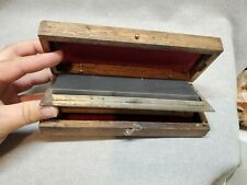 Vintage Double Sided Sharpening Hone Wood Box Norton Reversible Oilstone