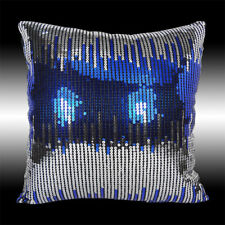 """SHINY ABSTRACT SILVER BLUE SEQUINS DECO CUSHION COVER THROW PILLOW CASE 16"""""""
