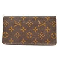 Authentic Louis Vuitton Monogram Long Wallet Porte Valeurs Cartes Credit Brown