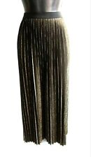 M&S LIMITED COLLECTION Black & Gold Pleated Long Maxi Skirt Size 12