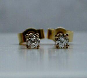 Brand New Natural Diamond 18ct Yellow Gold Stud Earrings £175 Freepost