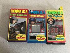 3 I Wanna Be A… VHS Kids Videos – Train Engineer, Truck Driver, & Fire Fighter