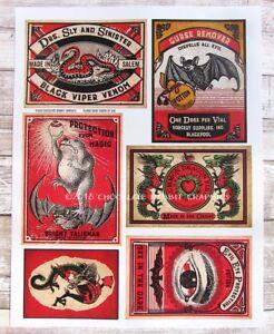 Halloween Potion Bottle Labels, Evil Eye, Large Uncut Label Stickers Set of 6