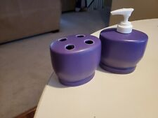 Soap Dispenser And Tooth Brush Holder Set Purple Ceramic