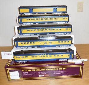 MTH 20-6518 ALASKA RAILROAD 70' ABS O SCALE PASSENGER STREAMLINED TRAIN 5 CARS
