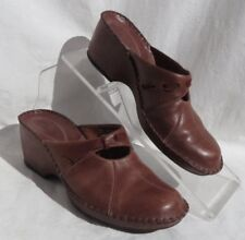 CLARKS Women's Brown Pink Leather Wedge Heel Mules Slip On Shoes size 7.5 7 ½