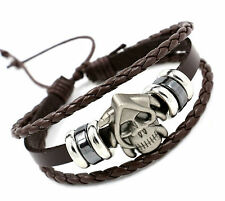 Skull A coffee Men's  Stainless Steel Skull Genuine Leather Bracelet Jewelry