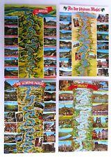 Postkarten Topographie Lot 4 PK Landkarten Fluss Verlauf der MOSEL River; ~1970