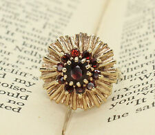 LADIES 9CT GOLD LARGE CLUSTER GARNET RING, SIZE M (US 6), solid 9k,cocktail, mum