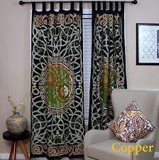 Handmade Celtic Yin Yang Curtain 100% Cotton Drape Copper Green 44x88 inches