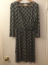 Milly Blue Wrap Dress W/ White Rope Print, Size Medium