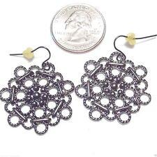 Dangle Studded French Hook Pierced Earrings, Gunmetal Openwork