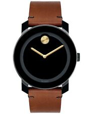 Movado Bold Black Dial Stainless Steel Brown Leather Strap Men's Watch 3600305