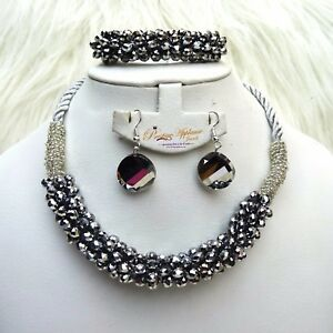 Black Pink Rope Beads Necklace Earring Jewellery Set for Ladies