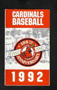 St Louis Cardinals--1992 Pocket Schedule--KMOX