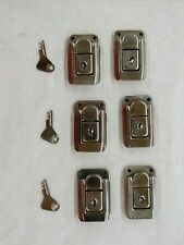 Keyed Toolbox Jewelry Box Toggle Latches Catch Hasp Lock Silver Tone Lot Of Six