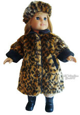 """Leopard Fur Winter Coat & Tam made for 18"""" American Girl Doll Clothes"""