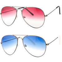 New Colorful Silver Black Metal Aviator Glasses with Color Lens Sunglasses