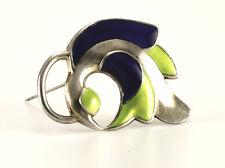 J Tostrup Sterling Silver & Enamel Brooch Pin, Norway, Modernist Design Vintage