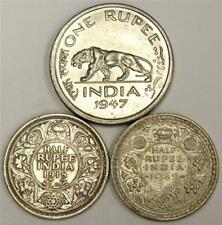 1918 and 1942 India 1/2 Rupee silver coins plus 1947 India One Rupee 3-coins