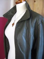 Ladies NEXT grey faux leather JACKET COAT UK 20 18 cafe racer biker bomber